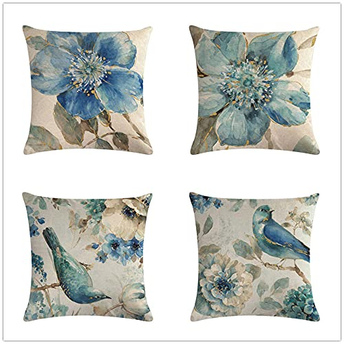 Funda Cojin 45x45cm Juego de 4 Fundas Cojines Cojines Sofa Throw Pillow Case Cojines Decorativos Lino de Algodón Flores Azules Pájaros Funda de Almohada para Cojín para Sofá, Cama Hogar, Coche