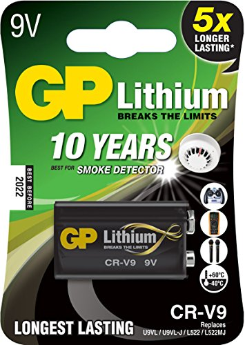GP Batterie Lithium (9 Volt E-Block, CR-V9) 10 Jahres Batterie ideal für z.B. Rauchmelder