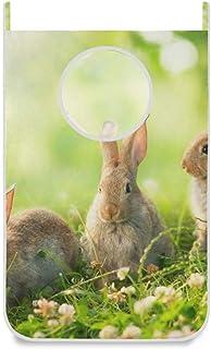 DOMIKING Panier à linge à suspendre – Lapins mignons petits lapins de Pâques à suspendre à la porte pour chambre d'enfant