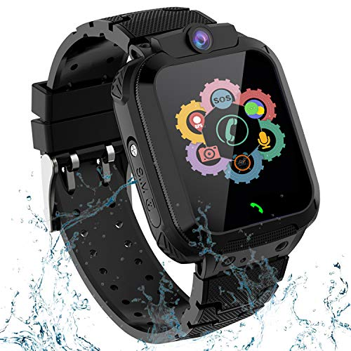 Kids GPS Smart Watch Phone for Boys Girls – Waterproof GPS Locator Smartwatch Phone with 2 Ways Call Camera Voice Chat SOS Alarm Clock Game Pedometer Wristband Gift for Student Birthday, Black