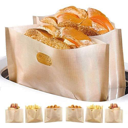 Prevessel 10 bolsas antiadherentes reutilizables para tostadas, bolsas para sándwiches para tostadas, pasteles, trozos de pizza, sándwiches de queso, pollo, nuggets 17 x 19 cm