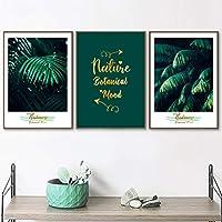 キャンバスアート緑の葉熱帯植物壁アートキャンバス絵画スカンジナビアのポスターとプリント写真リビングルームの装飾-40x60cmフレームなし