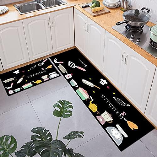 OPLJ Alfombrillas de Cocina Alfombrillas de Dibujos Animados Bonitos Que absorben Aceite Antideslizante Alfombra Larga Lavable Alfombra de Puerta de Entrada a casa Alfombra A7 50x80cm