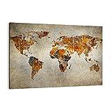Cuadro sobre lienzo - Impresión de Imagen - Mundo Mapa Continentes geografía - 100x70cm - Imagen Impresión - Cuadros Decoracion - Impresión en lienzo - Cuadros Modernos - AA100x70-2783