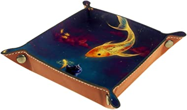 Golden Fish Cat Leather Tray Dice Box Bedside Tray Key Watches and Candy Holder Sundries Entryway Tray,20.5x20.5cm