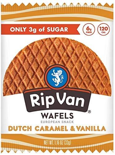 Rip Van Wafels Dutch Caramel & Vanilla Stroopwafels - Healthy Snacks - Non GMO Snack - Keto Friendly - Office Snacks - Low Sugar (3g) - Low Calorie Snack - 12 Count (Packaging May Vary)