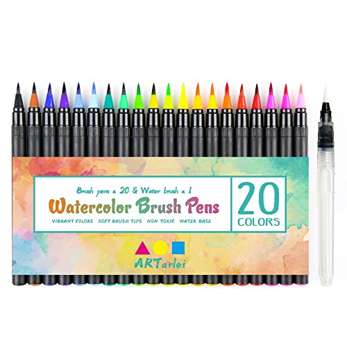 Watercolor Brush Pens, 20 Colors & 1 Refillable Water Pen, Safe for Kids, for Coloring Books, Drawing, Calligraphy, Lettering & Bold Colors and smoothly The Brush Pen is Very Vivid
