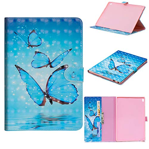 JARNING Case Tablet Funda Compatible con Samsung Galaxy Tab S6 Lite/P610 P615,Wallet Flip 3D Painting Cover with Kickstand Cuero E-Reader Tablet Case (Tres Mariposas)