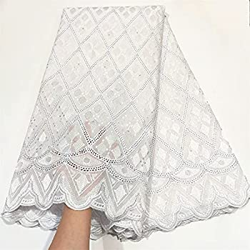 LadyQ 5 Yards Soft Embroidery Cotton Lace Fabric African Swiss Voile Lace Fabric White Nigerian Sewing Clothes 2021 953LD  White
