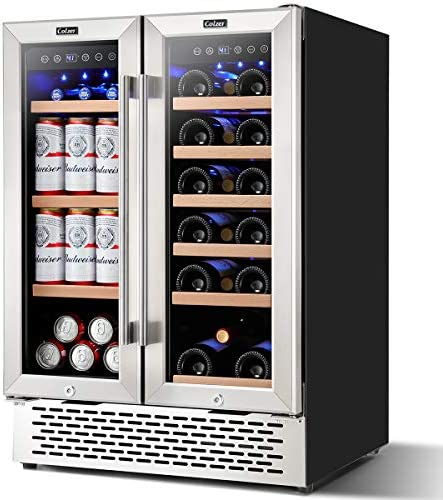 Colzer 24 Inch Beverage and Wine Cooler Dual Zone Wine Beverage Refrigerator 18 Bottles and product image
