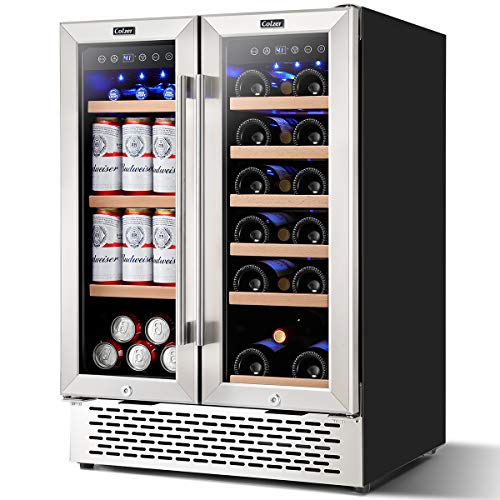 Colzer 24 Inch Beverage and Wine Cooler Dual Zone, Wine Beverage Refrigerator 18 Bottles and 57 Cans (120L)