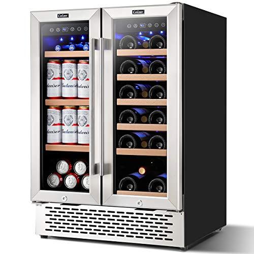 Colzer 24 Inch Beverage Fridge and Wine Cooler Dual Zone, Wine Beverage Refrigerator 18 Bottles and 57 Cans (120L) for Beer Wine Soda Drink
