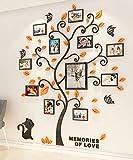 Árbol Pegatinas de Pared 3D Árbol Familia Marco de Fotos DIY Murales Stickers Decoración para Salón, Dormitorio, Oficina, Habitación Pegatinas Pared(3 Naranja,M: 160*132cm)