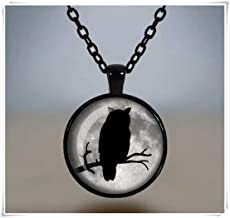 no see long time Silhouette Owl Necklace, Full Moon Pendant, Gothic Jewelry, Glass Cameo Cabochon Tile Necklace