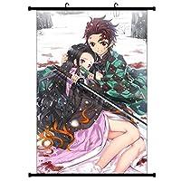 Bowinr Demon スレイヤー ウォールスクロールポスター 日本のアニメ 色あせない アートプリント ファブリックペインティング ポスター ホームウォールデコ用 30x45cm RWBPZH37F8736
