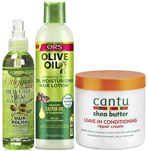 Africa's Best Organics Olive Oil Shine Hair Polish, ORS Olive Oil Moisturizing Hair Lotion & Cantu Leave-In Conditioning Repair Cream (Set of 3)
