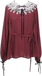 (ネオ?ルートヴィヒ)Neo-Ludwig 新チャイニーズスタイル カジュアル ファッション コットン 長袖 白 赤 ブラウス