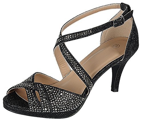 Cambridge Select Women's Peep Toe Crisscross Ankle Strappy Glitter Crystal Rhinestone Mid Heel Sandal (6.5 B(M) US, Black)