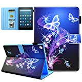 Kindle fire HD 10 Case, JZCreater Leather Standing Case Cover with Auto Wake/Sleep for Kindle Fire HD 10.1' Tablet (7th Generation, 2017 Release), Purple Butterfly