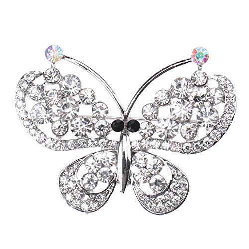LUCYPAPASHOW Damen Silber Kristall Helle Strass Schmetterling Insekt Flügel Brosche