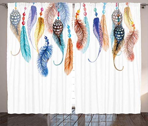 KUKUALE Multiple size 2 tablets Window Curtains Primitive Hippie with South Western Dove Eagle Hawk Raven Bird Feathers Artwork Living Room Decor Bedroom1