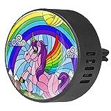 Clip de ventilación para difusor de aromaterapia para automóvil Vitrales Unicornio Moon Rainbow 2 paquetes de fragancia de incienso ambientador de aire