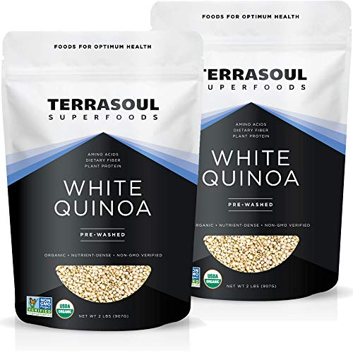 Terrasoul Superfoods Organic White Quinoa, 4 Lbs - Whole Grain   Pre-washed   Gluten-free   Plant...