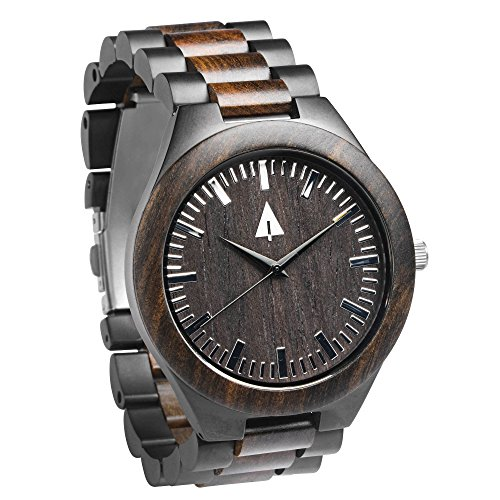 Treehut Men's Ebony Wooden Black Stainless Steel Watch Quartz Analog with Qua.