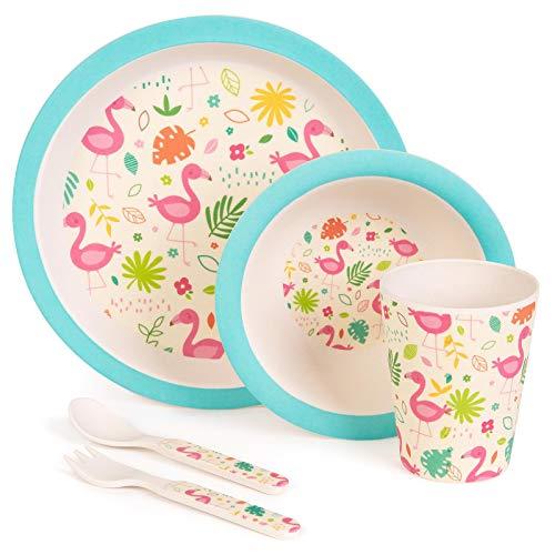 Boppi Lot de 5 couverts écologiques en bambou pour enfants avec assiette ronde, bol de fruits et de céréales, tasse à jus, fourchette et cuillère Va au lave-vaisselle et sans BPA - Flamants roses