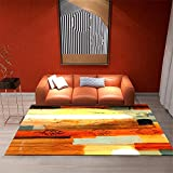 Xiaosua Alfombra Grande Naranja Salón Alfombra Naranja Abstracto diseño de diseño de Rayas Suave Alfombra de Lavado de Agua Alfombra Cuarto 60x90cm pie de Cama 1ft 11.6''X2ft 11.4''