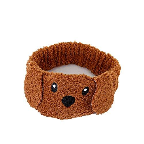 Q_TS Haarspange Stirnbänder Niedlich kreativ Hund Plüsch Haarband Haarschmuck Kopfbedeckungen Kaffee