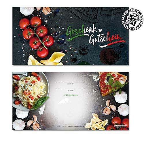 100 Stk. Hochwertige Gutscheinkarten Geschenkgutscheine DIN-lang. Gutscheine für Italienische Restaurants Pizzeria. Vorderseite hochglänzend. G92010