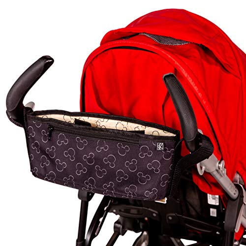 J.L. Childress Disney Baby Cargo 'N Drinks Parent Tray, Universal Stroller Organizer & Accessory, Mickey Black