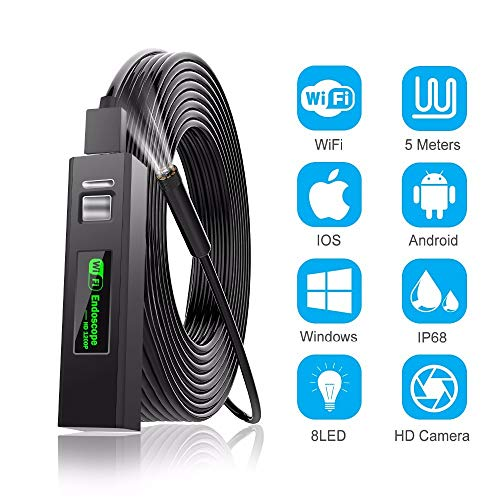 1200P endoscoop camera Wireless endoscoop 2.0 MP HD Borescope starre snake kabel voor IOS IPhone Android Samsung Smartphone PC 2m 720phardcable
