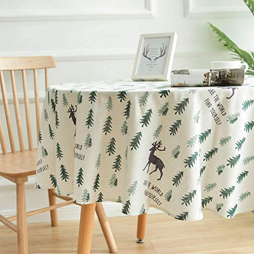Buty Modelo Redondo Mantel Impreso Tableclothelk del Árbol De Navidad Verde Mantel Decoración 1pcs