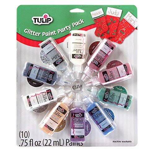 Tulip 31287 22 ml 3D Xmas Glitter Paint Set (Pack of 10)
