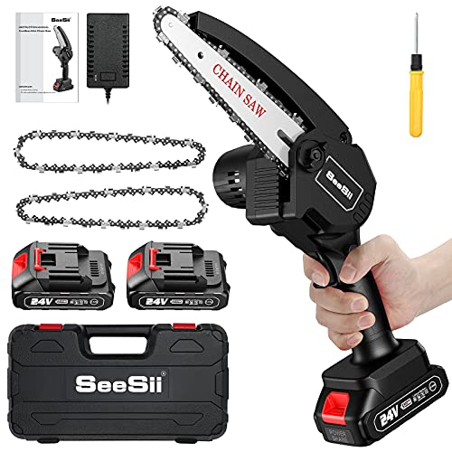 6-inch Mini ChainSaw, SeeSii Cordless Chainsaw with 2x 2.0Ah Batteries Auto-oil System One-Handed Electric Chain Saw Electric Pruning Chainsaw for Wood Cutting Garden Logging Trimming Branch