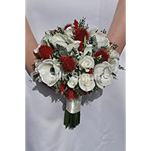 Ruby Red Scottish Thistle & White Roses Anemones Bridesmaids Wedding Bouquet