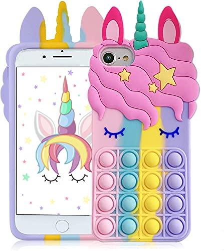 """Kawaii Pop Bubbles Unicorn Phone Case for iPhone 6/6S/7/8/SE 2020 with Blue Eyelashes Unicorn Fidget Toy Silica Gel Design for Girls iPhone (for iPhone 6/6S/7/8/SE 2020 4.7"""")"""