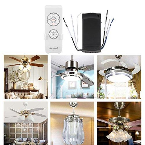 PopHMN Control Remoto de lámpara de Ventilador de Techo Universal, Kit de Control Remoto inalámbrico con 4 velocidades de 3 velocidades de Ventilador, transmisor y Receptor de 220V para Oficina