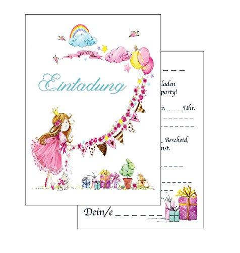 the lazy panda card company Einladungskarten Kindergeburtstag: rosa Prinzessin Geburtstagseinladungen Einladungen Geburtstag Kinder Mädchen (Mit passenden Umschlägen)