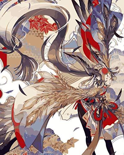 Pintar por Numeros para Adultos y Niños, Pájaro disfraz DIY Pintura por Números con Pinceles y Pinturas Decoraciones para 40 x 50 cm Sin Marco