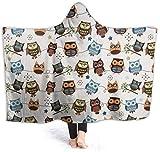 Dor675ser 132,1 x 152,4 cm tragbare Decke, super weich, warm, bequem, große Fleece-Plüsch-Ärmeln, TV-Überwurf, Wickel-Decke für Erwachsene Frauen und Männer, Eule