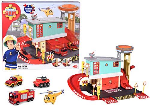 Dickie 203097005 Sam Il Pompiere - Centro di Emergenza + 4 Veicoli, 1 Piano - A Partire dai 3 Anni