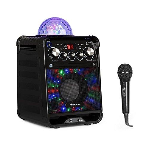 auna Rockstar - Karaoke-Anlage, Mini-Sound-System, Karaoke-System, LED-Jellyball, AVC-Funktion, Echo-Effekt, Bluetooth, Gewicht: 3,1 Kg, CD, CD-R und CD-RW, robust, schwarz
