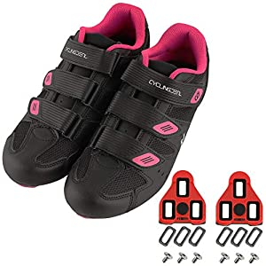 CyclingDeal Bicycle Road Bike Universal Cleat Mount Women's Cycling Shoes Black with 9-Degree Floating Look ARC Delta Compatible Cleats Compatible with Peloton Indoor Bikes Pedals Size 40