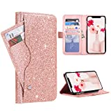 "BENTOBEN Wallet Case for iPhone Xs Max 6.5"", Fashion Glitter PU Leather Credit Card Holder Cash Pocket Kickstand Flip Folio Protective Durable Girl Purse Cover for Apple iPhone Xs Max, Rose Gold"