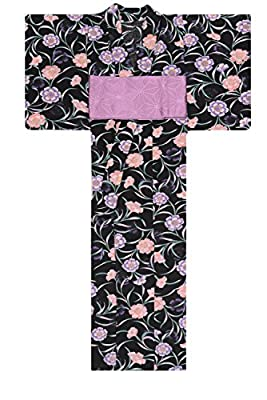 KimonoMode24 Women's Japanese Yukata And Pink Obi Set/ Cherry Blossom Pattern
