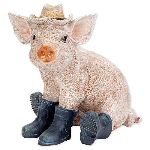 Bits and Pieces - Schweinchen mit Hut und Stiefel - Tierfigur Schwein Gartendeko Hausdeko Sau Ferkel aus Kunstharz