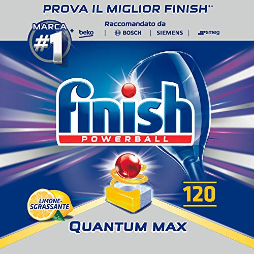 Finish Pastiglie Lavastoviglie Quantum Max, Limone, 120 Tabs